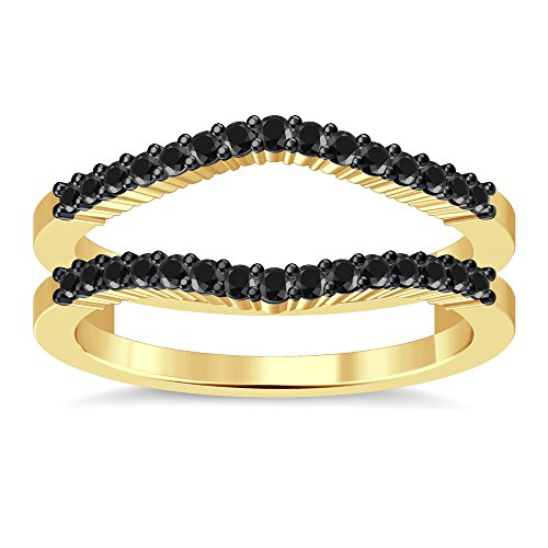 14k Shared Prong - Silvergemking Double Shared Prong Curved Ring Guard Cubic Zirconia Diamonds 14K Yellow Gold Fn Sterling