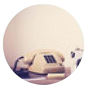alfombrilla de ratón Vintage máquina de escribir y el teléfono de la oficina - ronda - 20cm