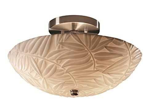 Justice Design Group Porcelina 2-Light Semi-Flush - Brushed Nickel Finish with Bamboo Faux Porcelain Resin Shade