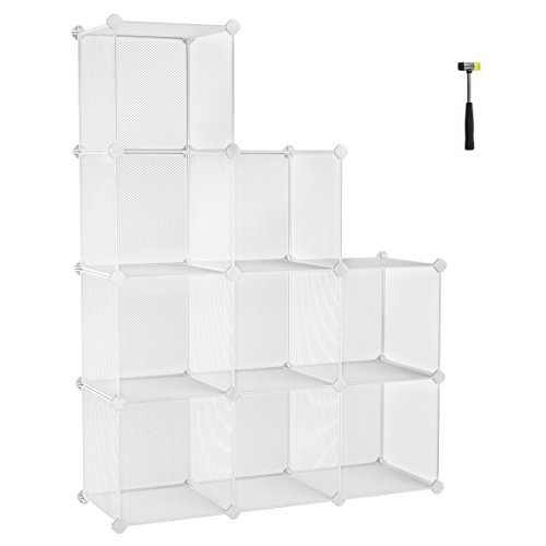 SONGMICS 9-Cube Metal Mesh Storage Cube, Storage Shelves Organizer, Modular Bookcase, DIY Closet Cabinet Shelf for Books, Plant, Toys, Shoes, Clothes 36.6 L x 12.2 W x 48.4 H Inches, White ULPL115WV1