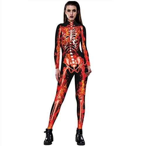 Tsyllyp Women Halloween Cosplay Costume Skeleton Print Bodysuit Sexy Tight Suit One-Piece Jumpsuit