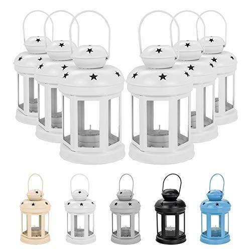 - Nicola Spring Candle Lanterns Tealight Holders Vintage Metal Hanging Indoor Outdoor - 16cm - White - Set 6