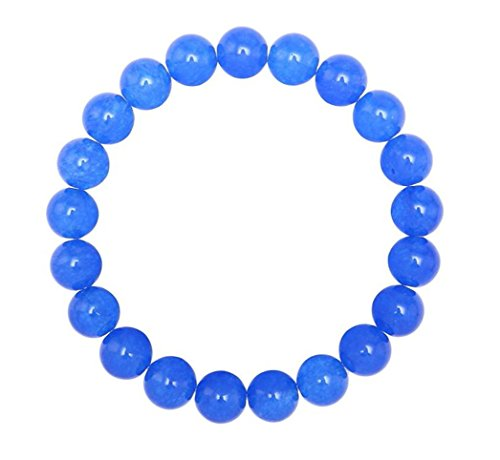 Natural Blue Agate Gemstone Bracelet 7.5 inch Stretchy Chakra Gems Stones Healing Crystal Great Gifts (Unisex) GB8B-18