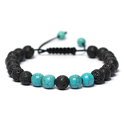 Vitality Extracts - Peace Adjustable Lava Stone Diffuser Bracelet - Turquoise, healing, well-being, serenity, peace, aromatherapy