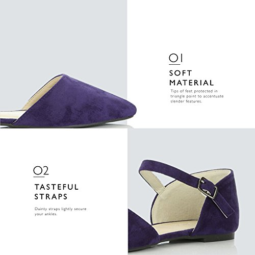 Ballerina Strap D'Orsay Women's Shoes Purple Ankle Flat Comfort DailyShoes Toe Flats Buckle Suede Casual Pointy Ballet qgUSvwxwT