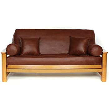 lifestyle covers faux hide leathery suede futon cover full amazon    burgundy leather look vinyl full size futon cover      rh   amazon