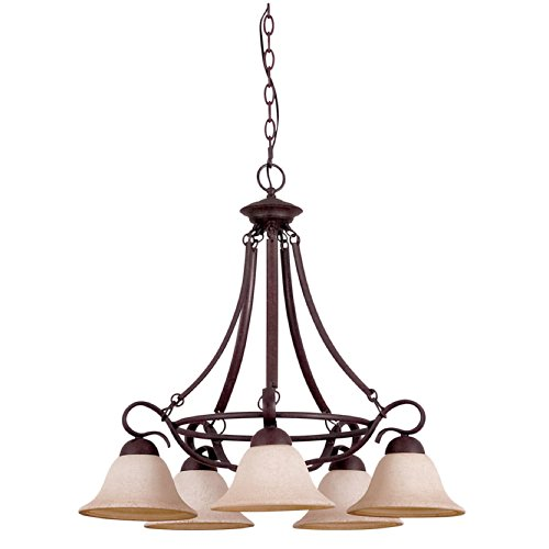 Sunset Lighting F5496-62 Chandelier with Turismo Glass, Rubbed Bronze Finish