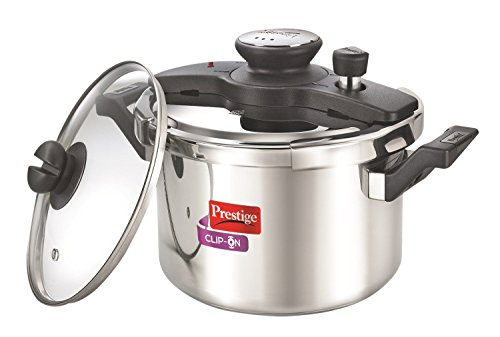Prestige PRCO6SG Clip-on Stainless Steel Pressure Cooker, Cook And Serve Pot with Extra Glass Lid, Large 6 Liters by Prestige