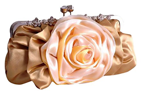 Satin Gold Rose Prom Party Clutch Evening Womens Bag Bridal Wedding rrPdFzqw
