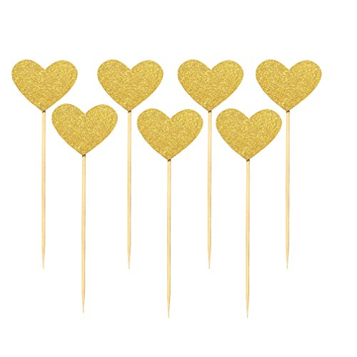 Babycola's Mum 40PCS Best Heart Cupcake Toppers, Gold Glitter Heart Large Cupcake Toppers , Cake Decorations Toppers Picks for Wedding and Baby Birthday ()