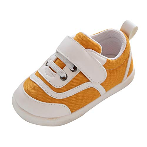 (RAINED-Toddler Kids Boy Girl Sneakers, Low Top Canvas Shoes with Hook and Loops Non Slip Rubber Sole First Walker Shoes Yellow)