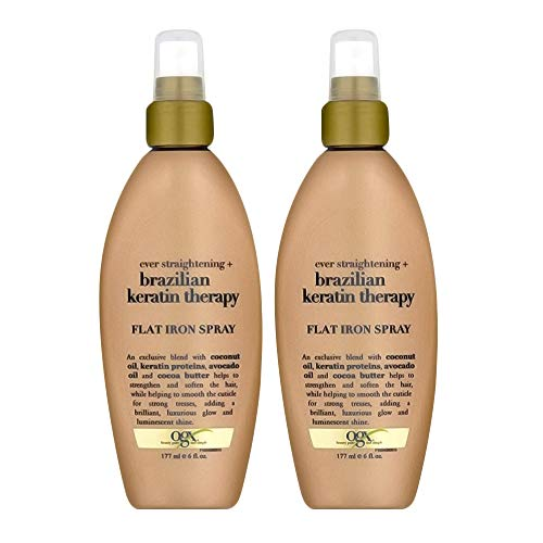 Organix Ever Straight Brazilian Keratin Therapy Flat Iron Spray, 6 Ounce (Set of 2)