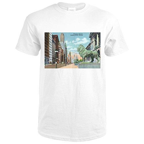 Chicago, Illinois - Northern View Down Michigan Avenue (Premium White T-Shirt - Michigan Shops Avenue
