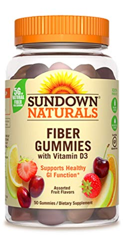 Sundown Naturals Fiber With D3 Gummies 50 Count per Bottle (2 Pack) (Sundown Gummy Vitamin)