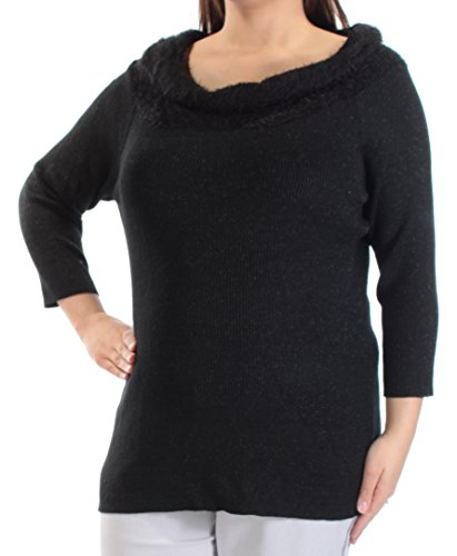 Metallic Sweater Nylon (NY Collection NEW Womens Black Off-The-Shoulder Night Out Sweater XL BHFO 5769)