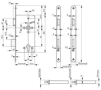 BKS Cerradura de embutir para puerta delantera 0024 PZW 20 ...