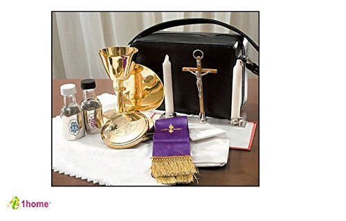 (Mass Kit Includes: Chalice, Paten, Pyx, Crucifix, 2 Glass Bottles, 2 Candles, Stole, Linens Zippered Carrying Case by 1home)