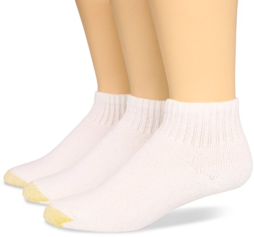 Gold Toe Women's 3-Pack Ultratec Qurarter Socks, White, Shoe Size: 6-9 (Gold Socks Toe Cotton)