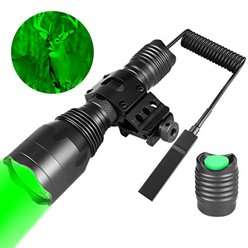 Fyland Tactical Flashlight - 350 Yards Green Hunting Flashlight with Universal Picatinny Rail Mount