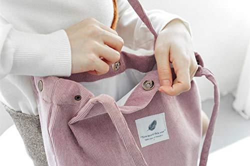 WENHUI Corduroy Four-Button Canvas Canvas Bag Large Capacity College Wind Handbag Shoulder Bag