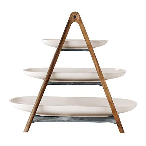 Villeroy & Boch Artesano Original Estantería, 4 piezas, Porcelana Premium/pizarra natural/Madera, Blanco