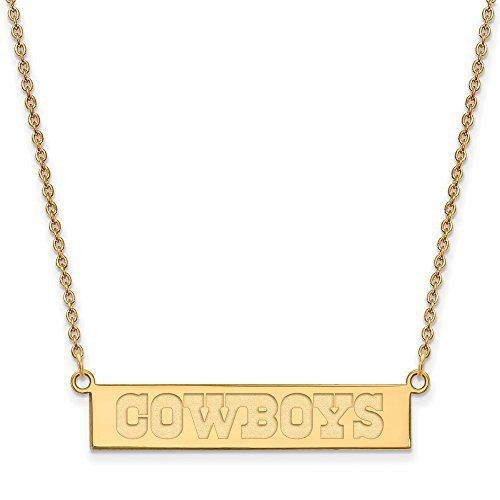 Gold Plated Dallas Cowboys Small Bar Necklace