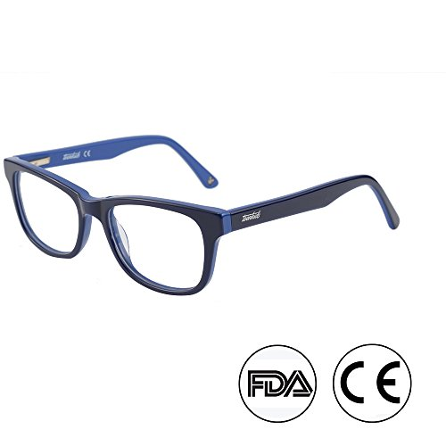Blue Light Shield Computer Reading/Gaming Glasses for Kids- 0.0 Magnification - Anti Blue Light 90% UV Protection Low Color Distortion, Classic Black and Blue Frame - Essential Gaming Gear (TK4002C2)