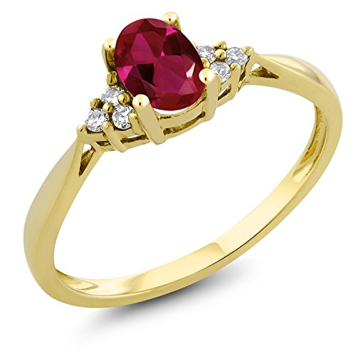 Gem Stone King 0.50 Ct Oval Red Created Ruby and Diamond 14K Yellow Gold Ring (Size 6)