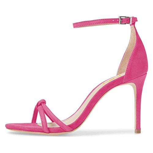 4 Cutout Shoes Fuchsia Party Women High FSJ Size Open 15 Toe Ankle US Sandals Stilettos Sexy Strap Heels 6AnTvq