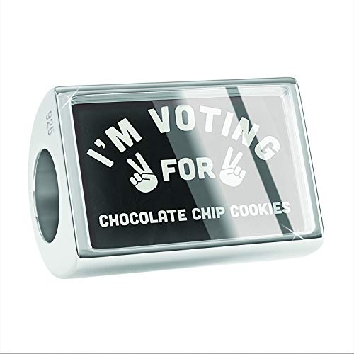 NEONBLOND Charm I'm Voting for Chocolate Chip Cookies Funny Saying 925 Sterling Silver Bead (Biggest Chocolate Chip Cookie In The World)