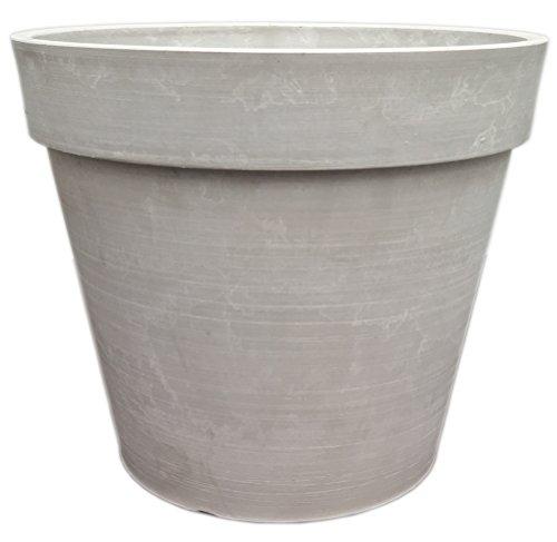 Spigo Contemporary UV-Protected Resin Flower Pot,10 Inches,White Stone