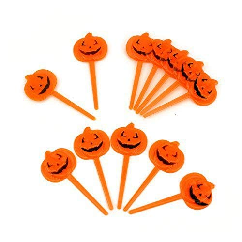 Adorox 12 Pcs Halloween Plastic Small Orange Pumpkin Party Cupcake Pick Toppers (12 pc) for $<!--$4.49-->
