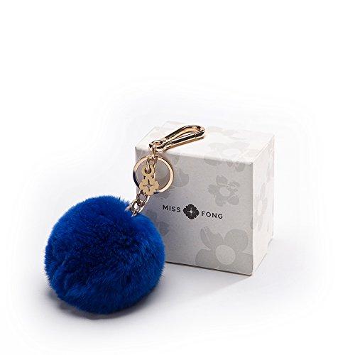 Pompom Keychain Puff Ball in Genuine Fox Fur by Miss Fong Bag Charm Gold Ring Fur Ball(Blue)