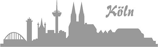 Samunshi Autoaufkleber Köln Aufkleber Skyline In 8 Größen Und 25 Farben 40x11 7cm Grau Küche Haushalt