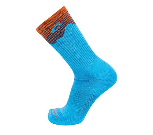 Point 6 Hiking Sock Medium Cushion Under Foot Crew Sock,Robin's Egg Blue,Large
