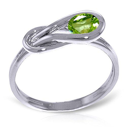 ALARRI 0.65 CTW 14K Solid White Gold Pray For Love Peridot Ring With Ring Size 6.5 by ALARRI