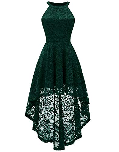 BeryLove Women's Halter Hi-Lo Floral Lace Cocktail Dress Sleeveless Bridesmaid Formal Swing Dress ()