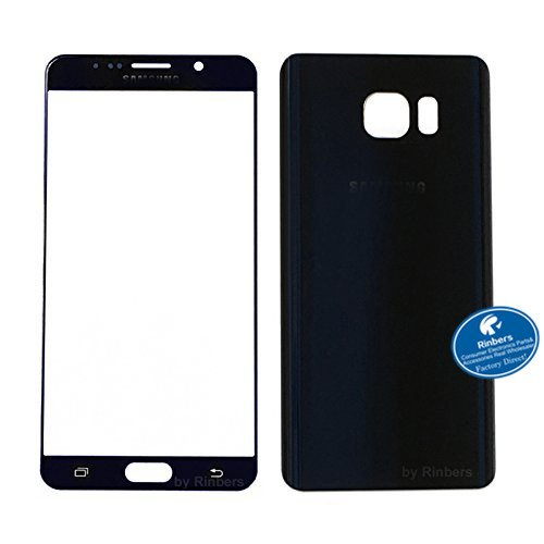 Rinbers Blue Outer Lens Touch Screen Front Glass Panel with Back Glass Battery Door Rear Cover Housing Replacement for Samsung Galaxy Note 5 V N920A N920T N920P N920V N920R4 N920W8 - Housing Front Cover