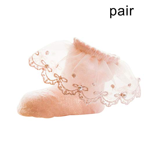 TRENTON Baby Girls Socks, Pointelle Ruffled Bow Lace Cotton Princess Stocking Ankle Socks for Summer Pink Pearl# L (Pointelle Bow)