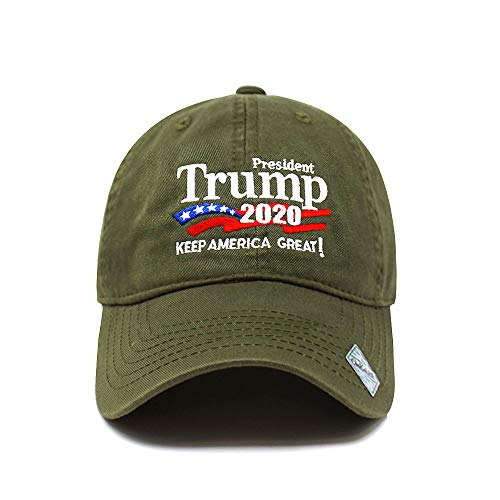Trump 2020 Keep America Great Campaign Embroidered USA Hat | Baseball Bucket Trucker Cap (Cotton Army Green)