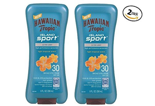 Hawaiian Tropic Island Sport Ultra Light High Performance Suncreen Lotion, Light Tropical Scent SPF 30, 8 Fl Oz (Pack of 2)