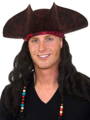 (Jacobson Hat Company Men's Caribbean Pirate Hat with Braids, Brown,)