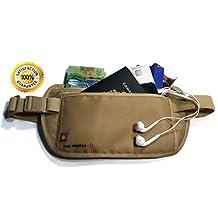 RFID Money Belt for Travel (Khaki-Beige) - Money Bag - Waist Bag Pouch - Travel Wallet - Passport Holder - Money Travel Pouch - Waist Stash - Men/Women - Best RFID Protection for your Passport, Credit Cards, Cash, Smartphone, ID Cards and more when Traveling. By Digi Protek mb02 khaki