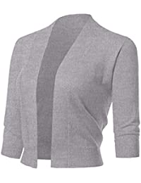 Women's Classic 3/4 Sleeve Open Front Cropped Cardigans (S-XL)