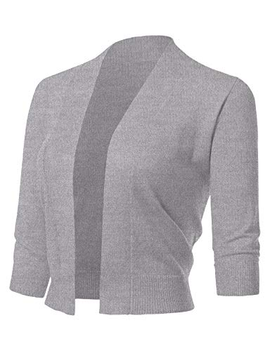 ARC Studio Women's Classic 3/4 Sleeve Open Front Cropped Cardigans,Heather Grey-arc,X-Large