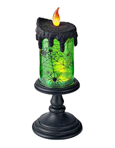 [Lightahead LED flameless Candle with moving patterns Halloween LED Lights Lantern Black base with Green Water (Spinning Spider Design) For Special festival day decoration and] (Halloween Lighting)