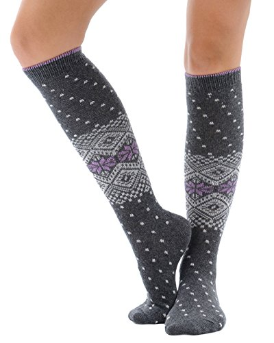 Womens Print Knee Hi Socks Cashmere Virgin Wool blend Color Options Color:: Gray - Print Wool Blend