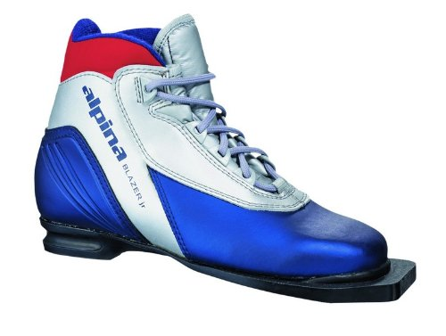 Alpina Sports Junior Blazer Cross-Country Nordic Classic Ski Boots with 3-Pin Soles, Silver, 29