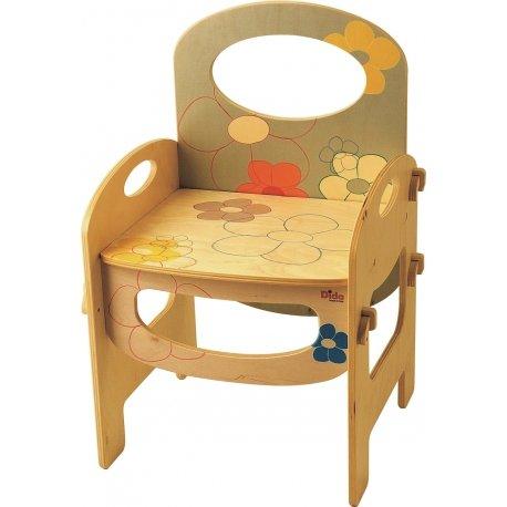 DIDA - Kinderstuhl mit Rückenlehne und Armlehnen für Das Kinderzimmer und Den Kindergarten. Dekoration  Blumen - Sitzhöhe 28 cm, Gesamthöhe 52 cm Base 35 cm x 31 cm