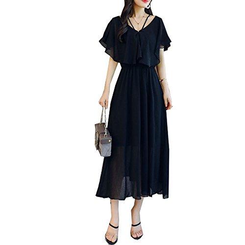 XFY レディース ワンピース 体型カバー スリム ロング スカート ドレス Vネック 可愛い 着痩せ 大きいサイズ Aライン シルエット フレア エレガント きれいめ 夏 スカート 結婚式 パーティ 二次会 お呼ばれ